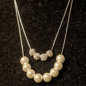NWT Silver Pearl Multi Strand Necklace